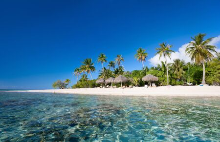 polynesia: Stunning beach at Tikehau atoll in French Polynesia Stock Photo