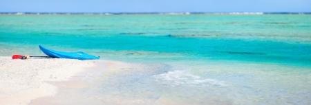 panoramic beach: Kayak on an exotic pink sand beach