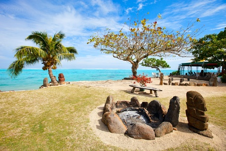 french polynesia: Beautiful exotic coast on Moorea island in French Polynesia Stock Photo