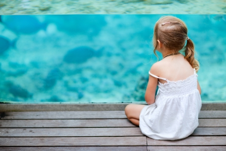 peces de acuario: Ni�a disfrutar de la vida submarina a trav�s de la pared acristalada