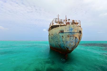 corrosion: Old ship wreck at Caribbean sea