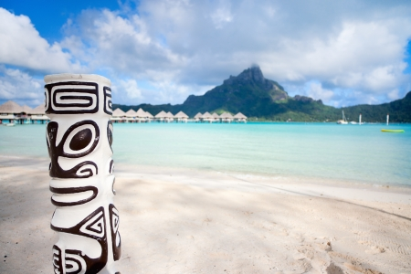Beautiful beach with a view of Otemanu mountain on Bora Bora island photo