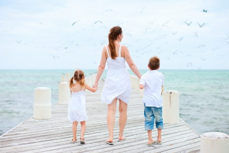 Back view of mother and kids on a wooden dock walking towards hundreds of sea birds photo
