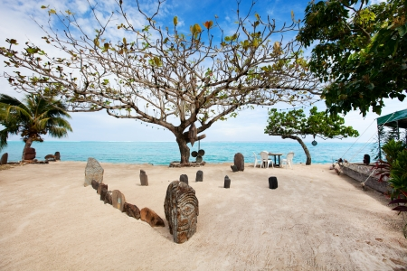french polynesia: Public beach on Moorea island in French Polynesia