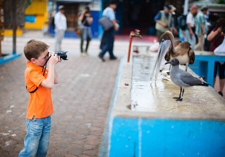 galapagos: Cute little boy photographing at seafood market Stock Photo