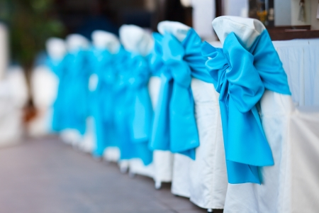 wedding chairs: Row of chairs tastefully decorated for a part event