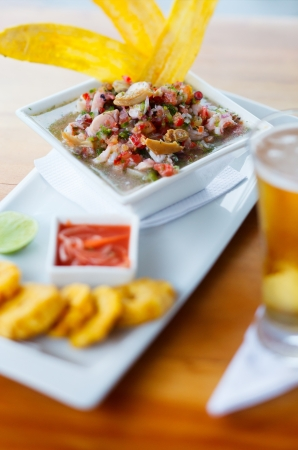 Bowl of fresh ceviche popular dish in Central and South America photo