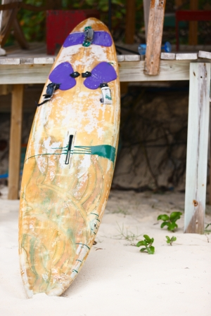 board: Close up of an old surfboard