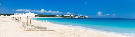 beach panorama: Panorama of a beautiful beach on Anguilla island, Caribbean
