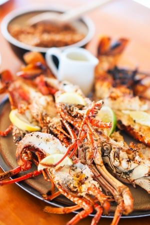 crayfish: Close up of delicious grilled seafood platter