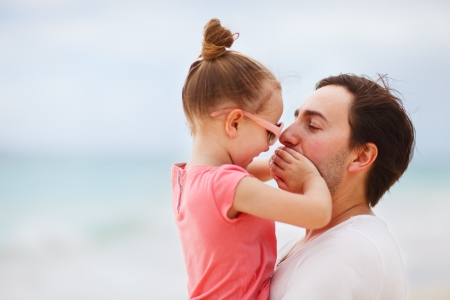 father and child: Happy father and his adorable little daughter outdoors