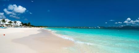 anguilla: Panorama of a beautiful beach on Anguilla island, Caribbean