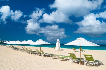anguilla: Chairs and umbrellas on a beautiful tropical beach at Anguilla, Caribbean