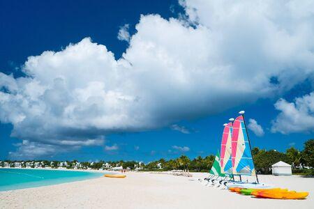 anguilla: Catamarans at beautiful Caribbean beach