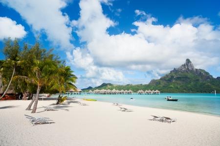 Beautiful beach with a view of Otemanu mountain on Bora Bora island Stock Photo