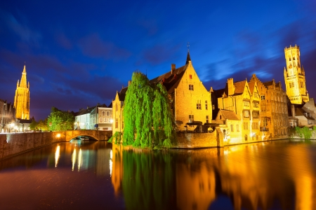 brugge: Night view of Bruges town World Heritage Site of UNESCO