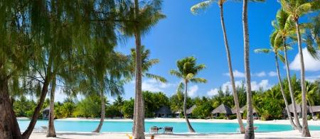 bora: Beautiful beach on Bora Bora island in French Polynesia Stock Photo