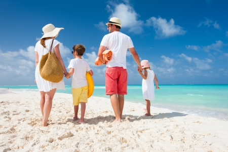 Back view of a happy family on tropical beach photo