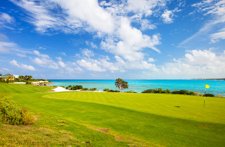 海岸沿いゴルフコースの素晴らしい景色 写真素材