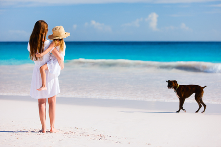 Mother and daughter enjoying time at tropical beach photo