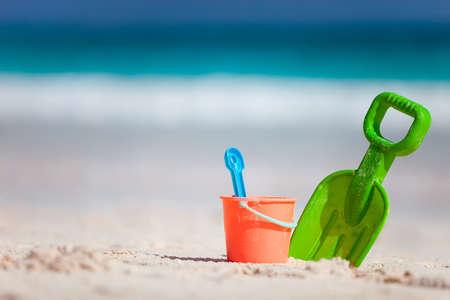 beach toys: Colorful beach toys at tropical Caribbean beach