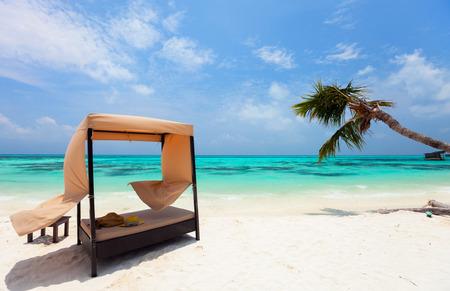 몰디브에서 야자수 나무와 아름다운 열대 해변에서 데이 침대 카바나 스톡 콘텐츠