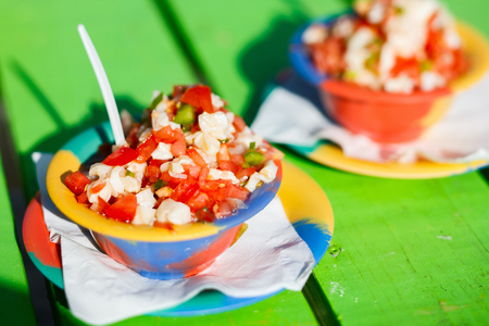 conch: Two bowls of Bahamian conch salad  Stock Photo