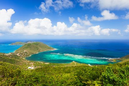 Aerial landscape of beautiful tropical coast of Virgin Gorda island at Caribbean Stock Photo