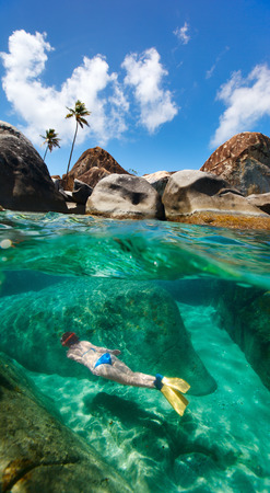 virgin girl: Split photo of young woman snorkeling in turquoise tropical water among huge granite boulders at The Baths beach area major tourist attraction on Virgin Gorda, British Virgin Islands, Caribbean