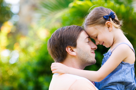 Happy father and his adorable little daughter outdoors Stock Photo - 30070917