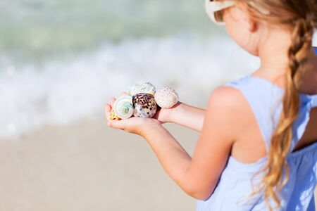 holding close: Close up of little girl hand holding variety of beautiful sea shells