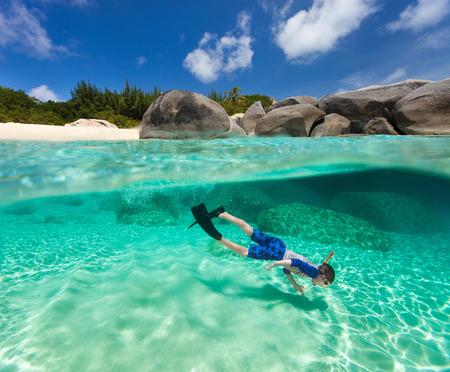 Split photo of little boy snorkeling in turquoise ocean water at tropical island of Virgin Gorda, British Virgin Islands, Caribbean photo