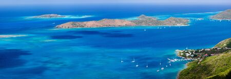 neighboring: Panoramic landscape of beautiful tropical coast of Virgin Gorda and neighboring islands at Caribbean