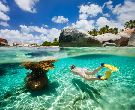the virgin islands: Split photo of young woman snorkeling in turquoise ocean water among corals and tropical fish on Virgin Gorda, British Virgin Islands, Caribbean