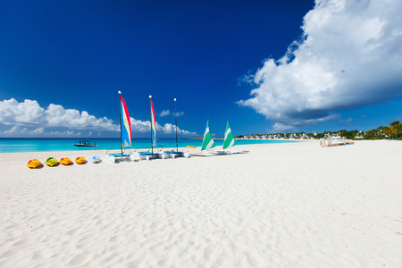 anguilla: Catamarans on a beautiful Caribbean beach