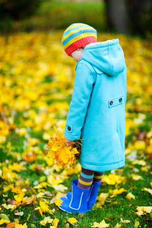 unrecognisable person: Back view of adorable little girl in colorful hat and coat outdoors at beautiful autumn park