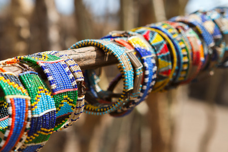 Kleurrijke traditionele juwelen van Masai stam Stockfoto