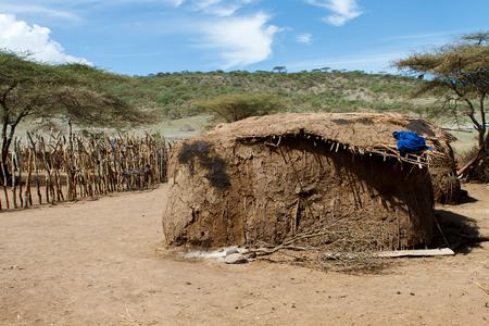 mud house: Mud hut in traditional masai village in Africa