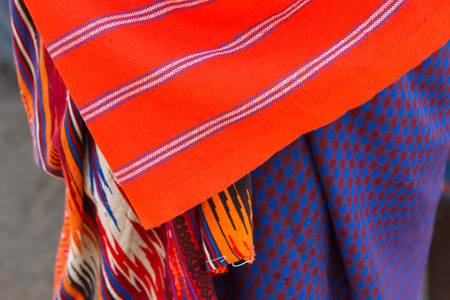 Closeup of colorful textile of Masai tribe in Africa Stock Photo