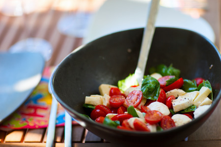 bawl: Fresh tomato and mozzarella salad in a bawl