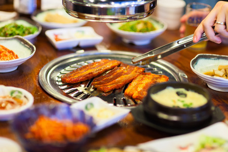 Kimchi Korean cuisine barbecue grill meat and vegetables