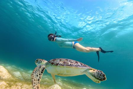 Underwater foto av ung kvinna snorkling och simning med karettsköldpadda