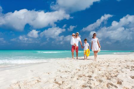 family beach: Happy beautiful family on a Caribbean holiday vacation
