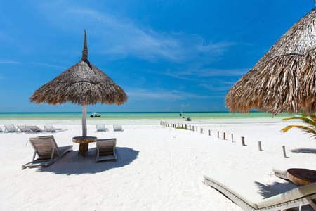 stunning: Umbrellas on stunning tropical beach at Holbox Mexico Stock Photo