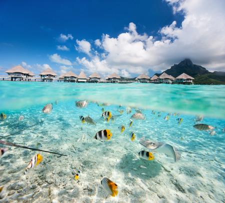 Belle île tropicale en Polynésie française sous et au-dessus de l'eau Banque d'images