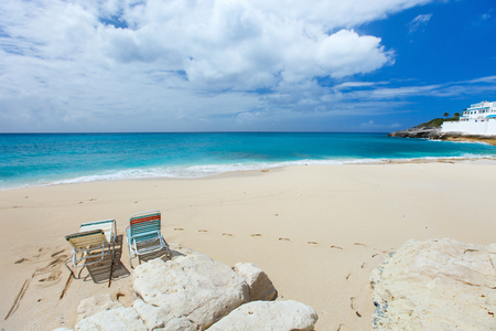 sint: Beautiful tropical beach on Sint Maarten Caribbean