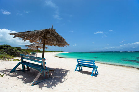 thatched: Tropical thatched umbrellas on a beautiful Caribbean beach