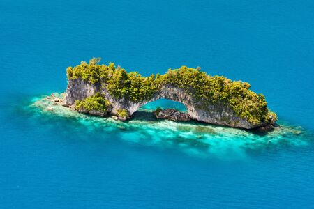 micronesia: Beautiful view of The Arch landmark in Palau from above