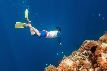 free diving: Underwater photo of a young man free diving at coral reef in tropical ocean