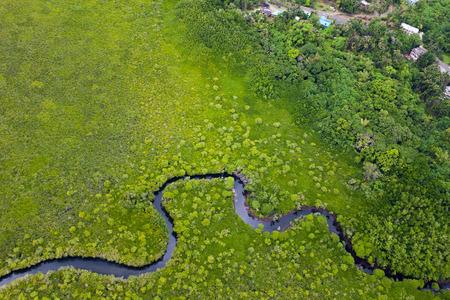 cenital: Vista a�rea oa tierra verde y peque�o r�o en el Palau isla principal Foto de archivo